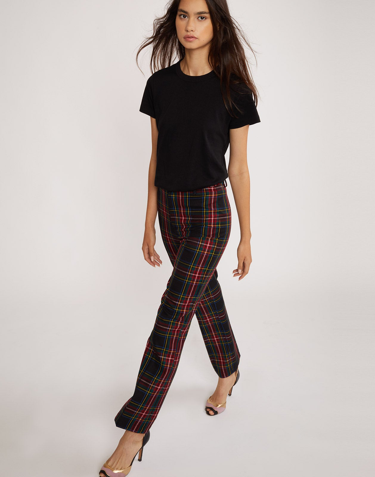 Front view of the Astor plaid wool pants.
