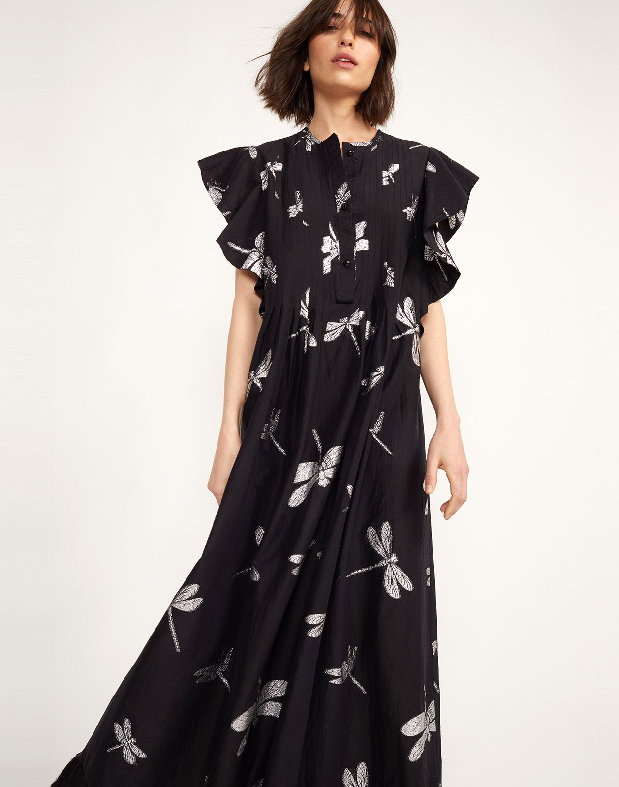 Additional front view of the Nairobi Dragonfly Kaftan Dress