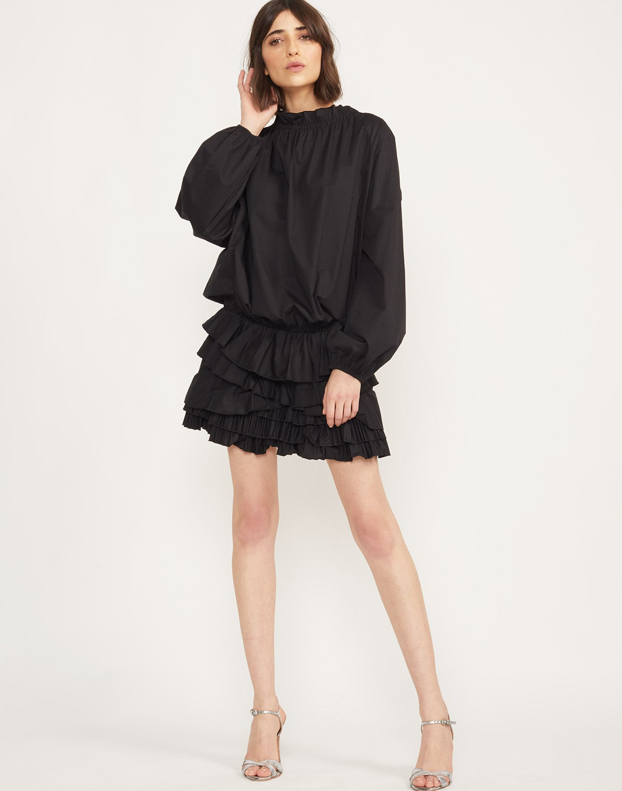 Full front view of the Lenox polished cotton mini ruffle dress.