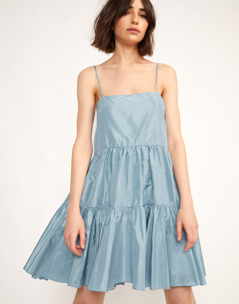 Close view of the Sky Tiered Swing Dress