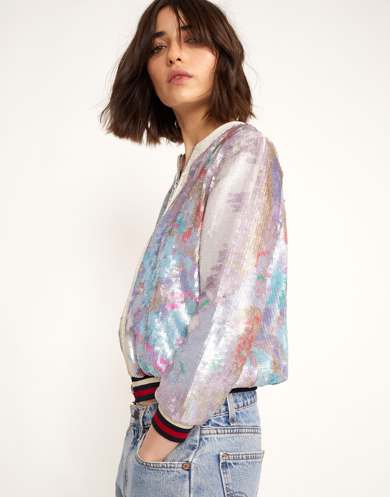 Side view of the Naomi Sequin Bomber Jacket