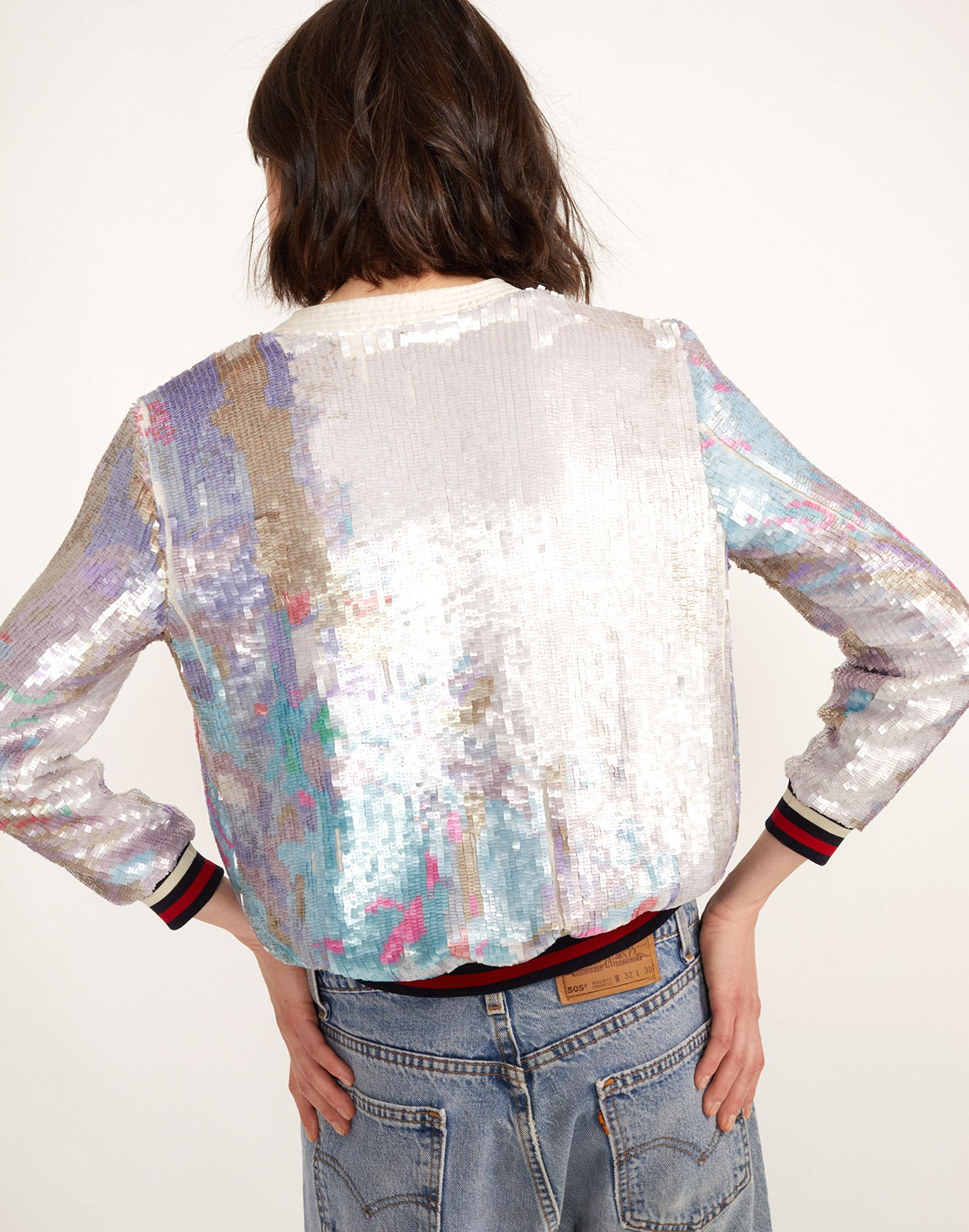 Back view of the Naomi Sequin Bomber Jacket