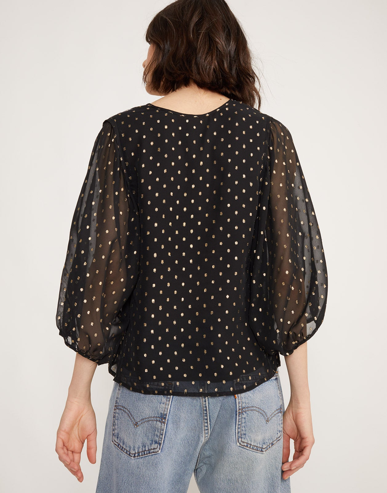 Back view of Inverness Metallic Fish Top with square neckline and sheer sleeves