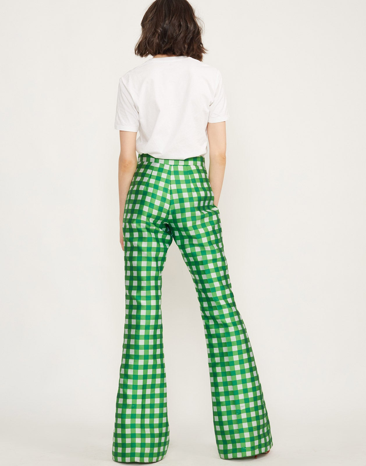 Back View of Davis Gingham Pant