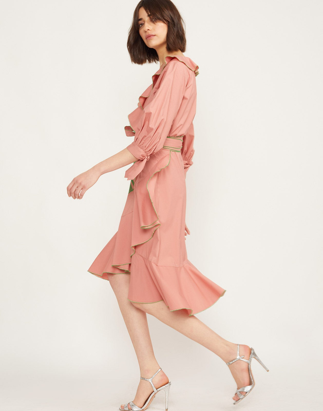 Alternate side view model wearing Cleo Embroidered Wrap Dress