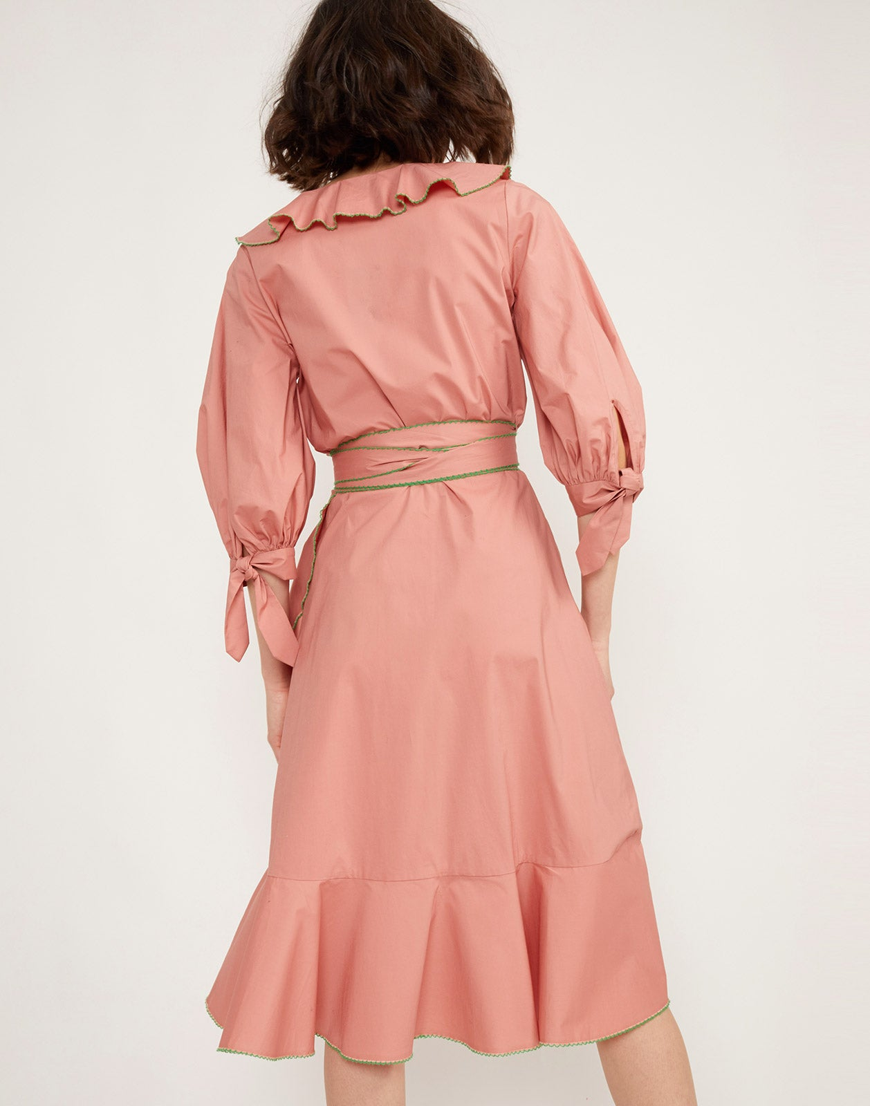 Alternate back view model wearing Cleo Embroidered Wrap Dress