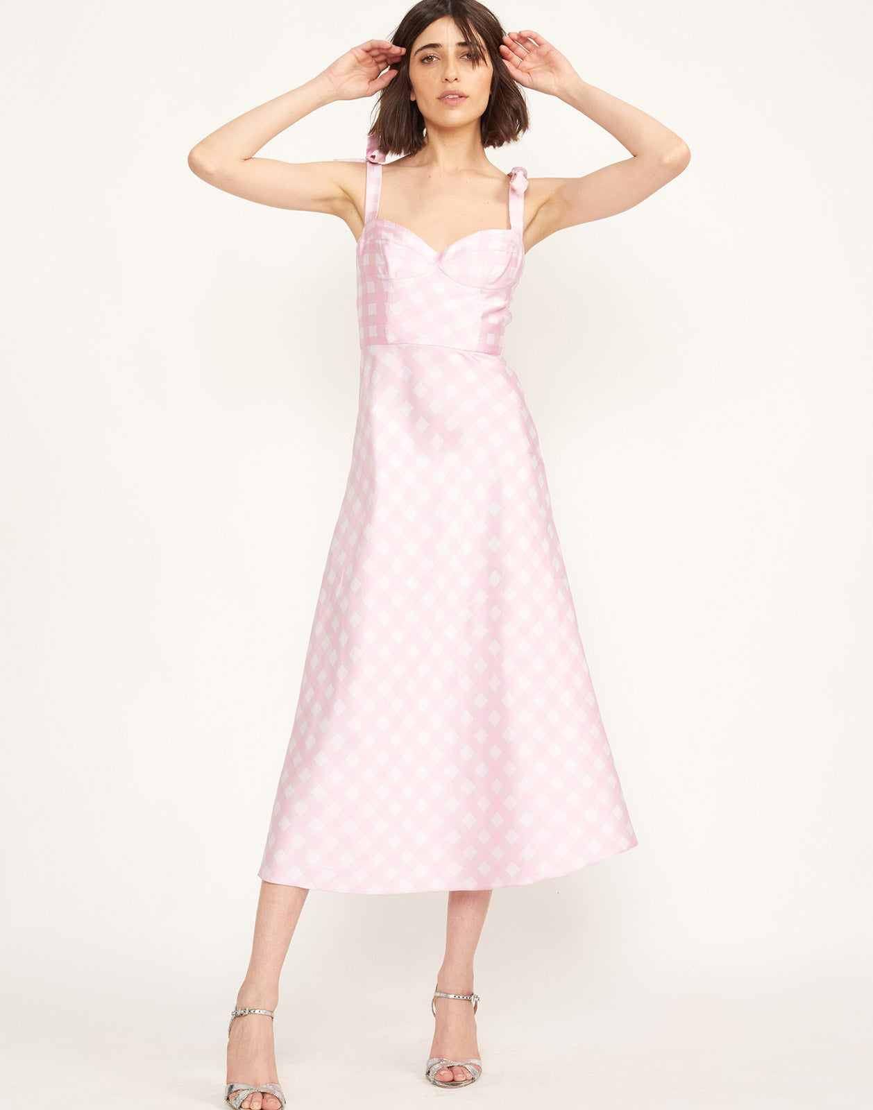 Front view of the Easton Gingham Midi Dress
