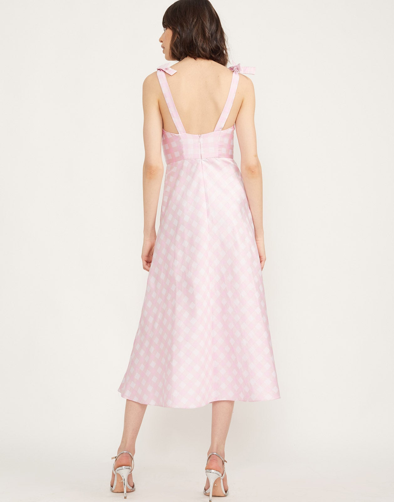 Back view of the Easton Gingham Midi Dress