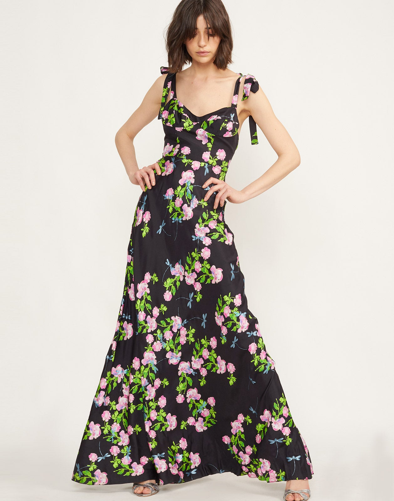 Full view of model wearing Ten Rose Maxi Dress.