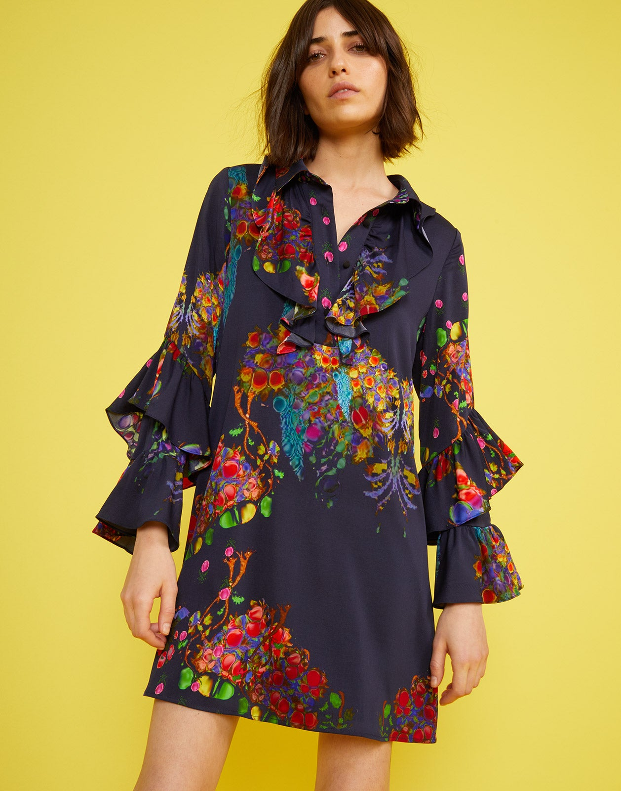 Close front view of the Roseland Mini Shirtdress
