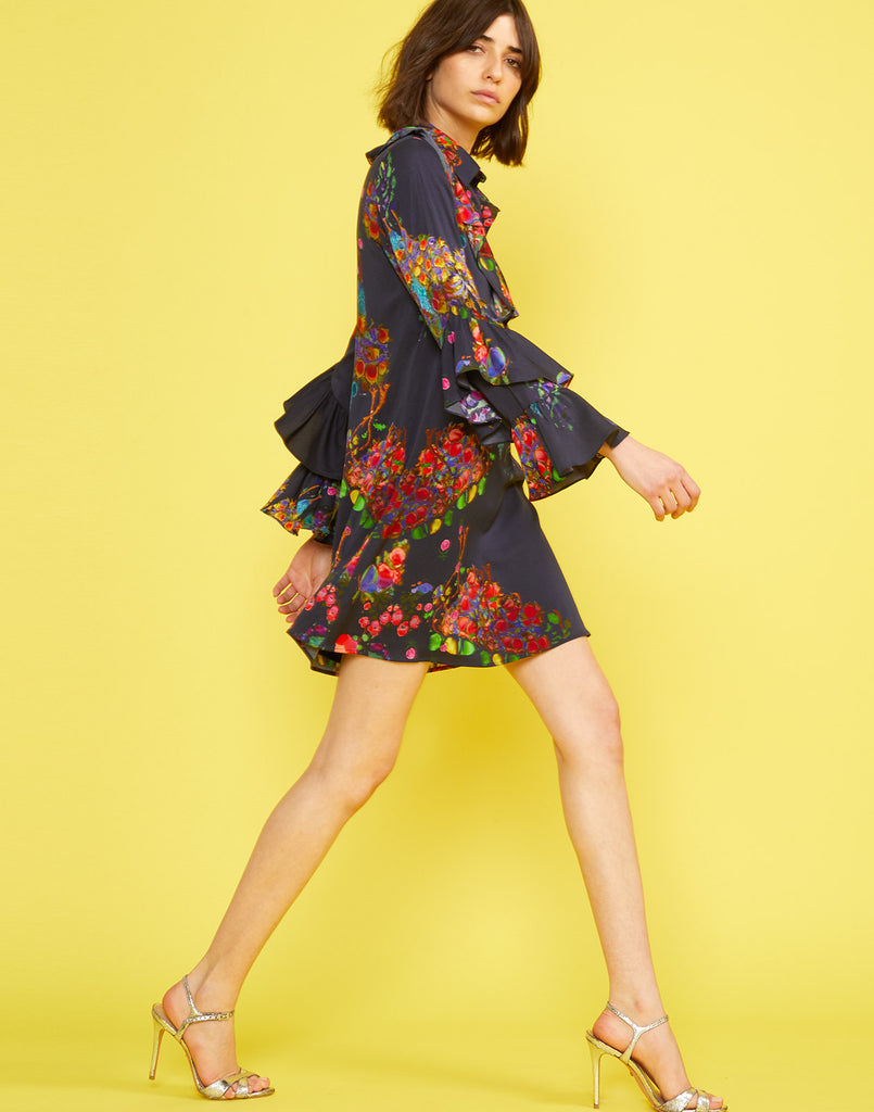 Side view of the Roseland Mini Shirtdress with ruffle sleeves