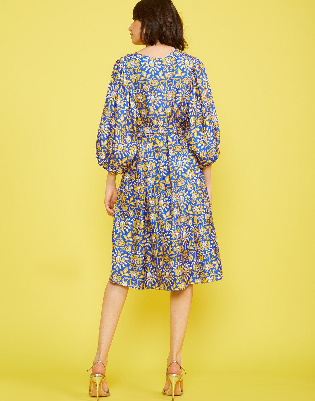 Full back view of the Daley Waist Tie Dress with silk floral print and voluminous sleeves and waist tie