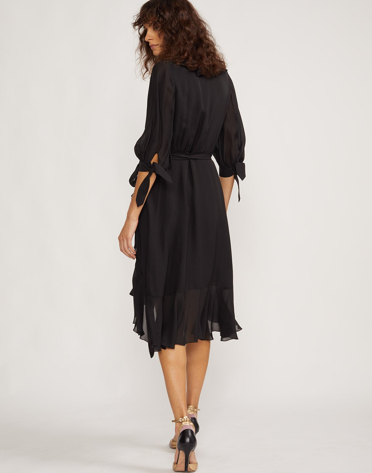 Back view of Genevieve ruffle wrap dress.