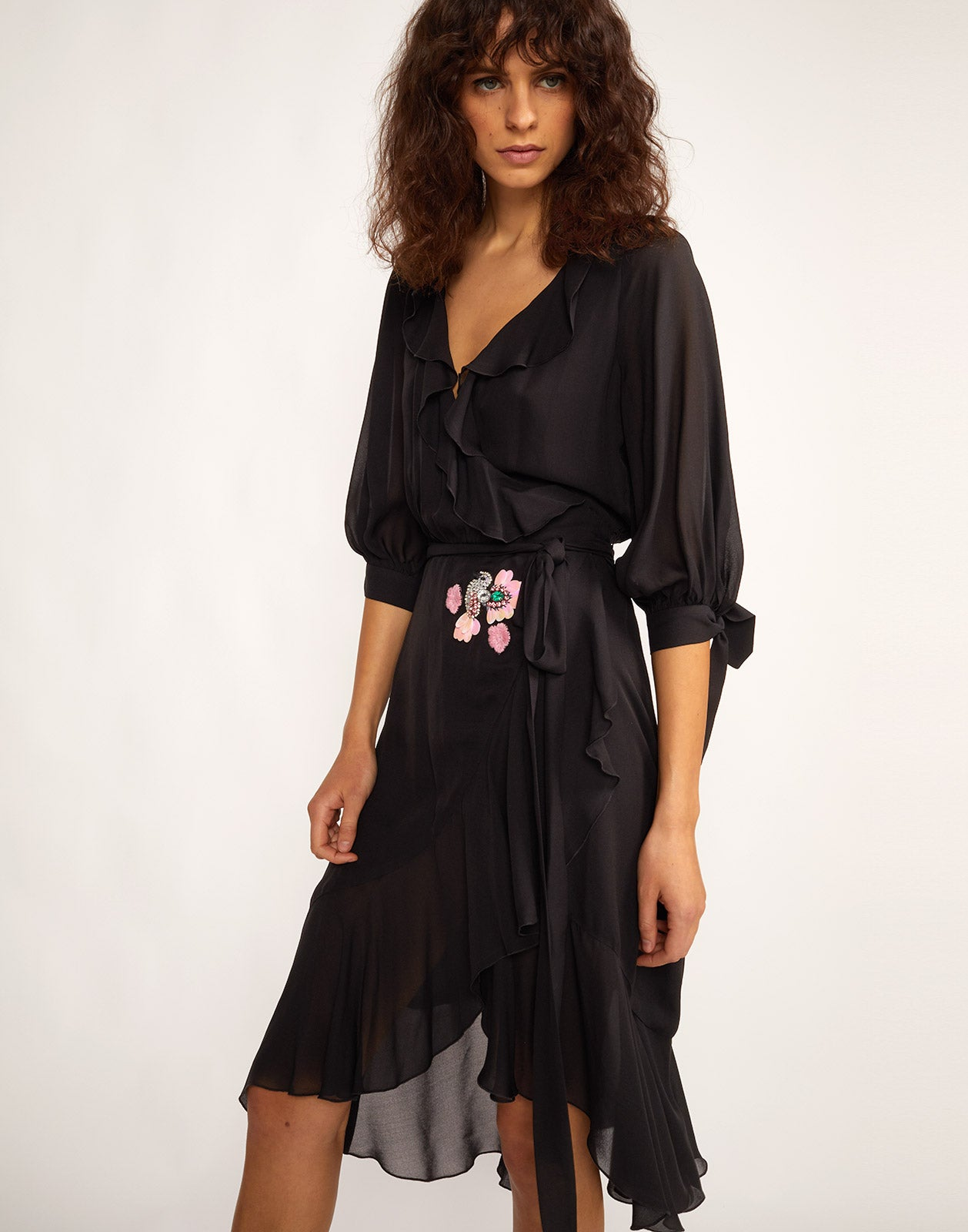 Front close view of Genevieve ruffle wrap dress.