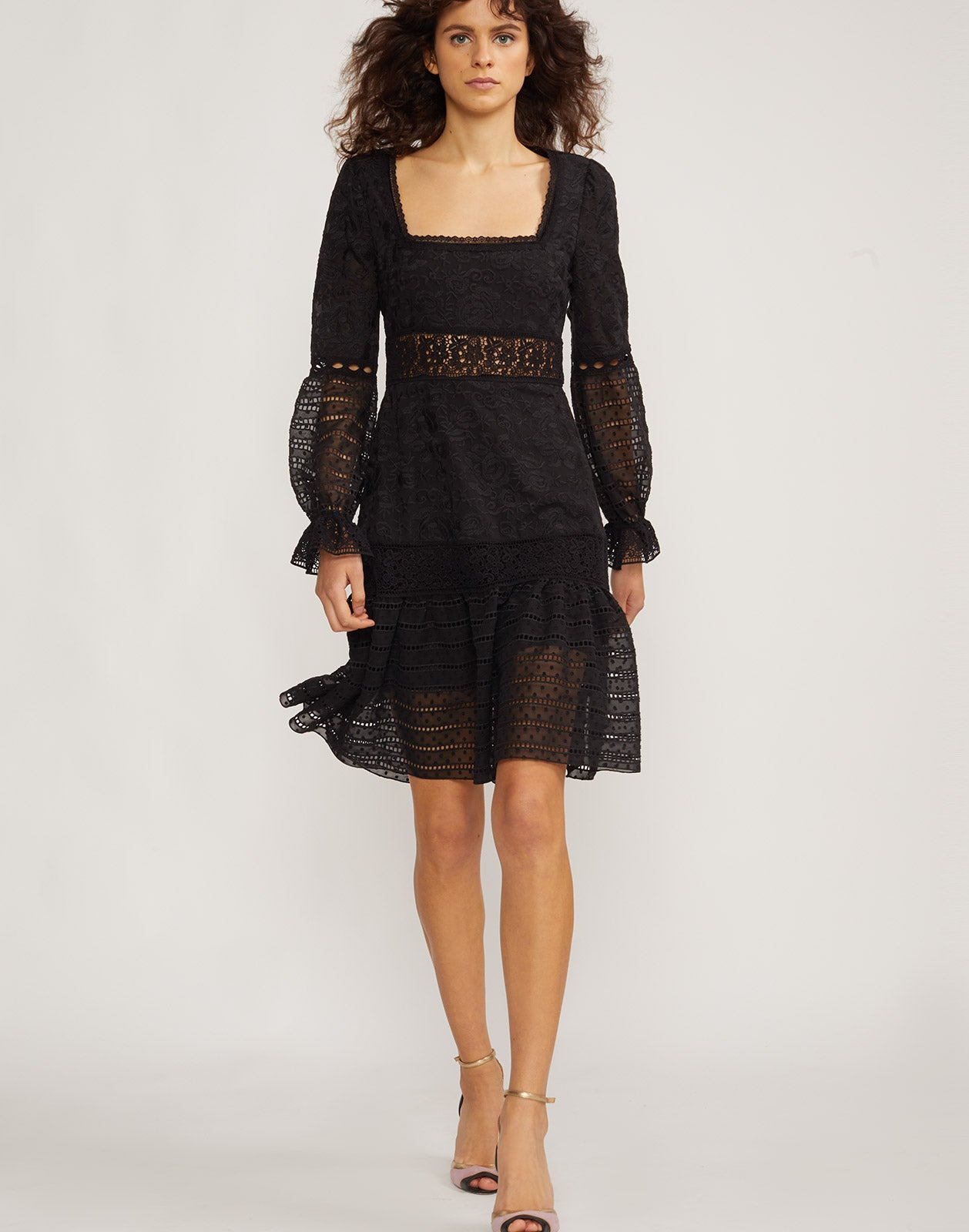 Front view of model wearing Wicker Park Lace Eyelet dress.