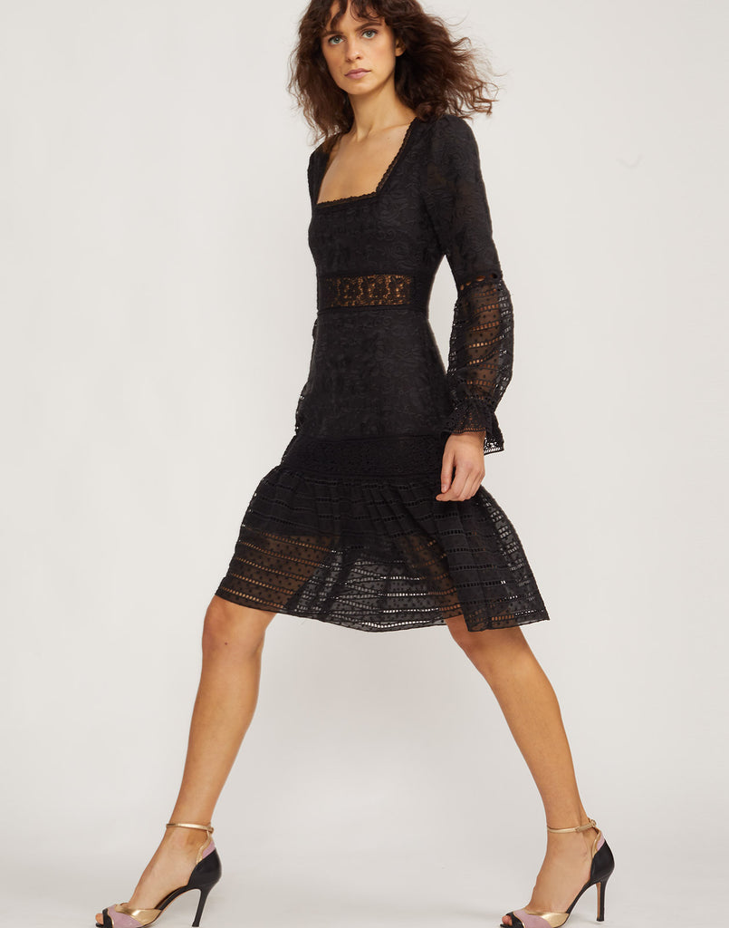 Side view of model wearing Wicker Park Lace Eyelet dress.