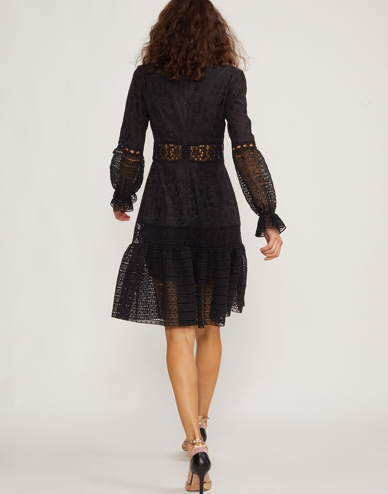 Back view of model wearing Wicker Park Lace Eyelet dress.