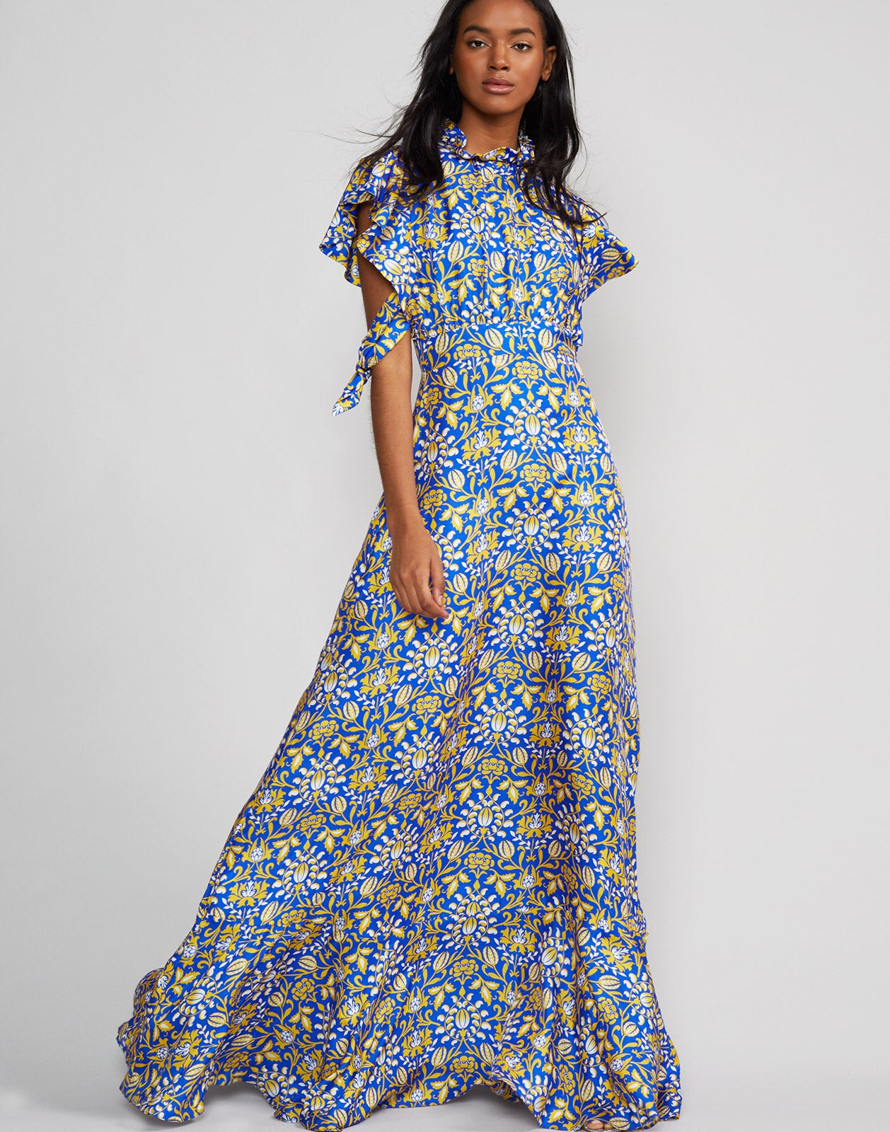 9bf4e0c8dd7bc ... Full length view of model wearing Talia flutter sleeve silk floral  print maxi dress in royal ...