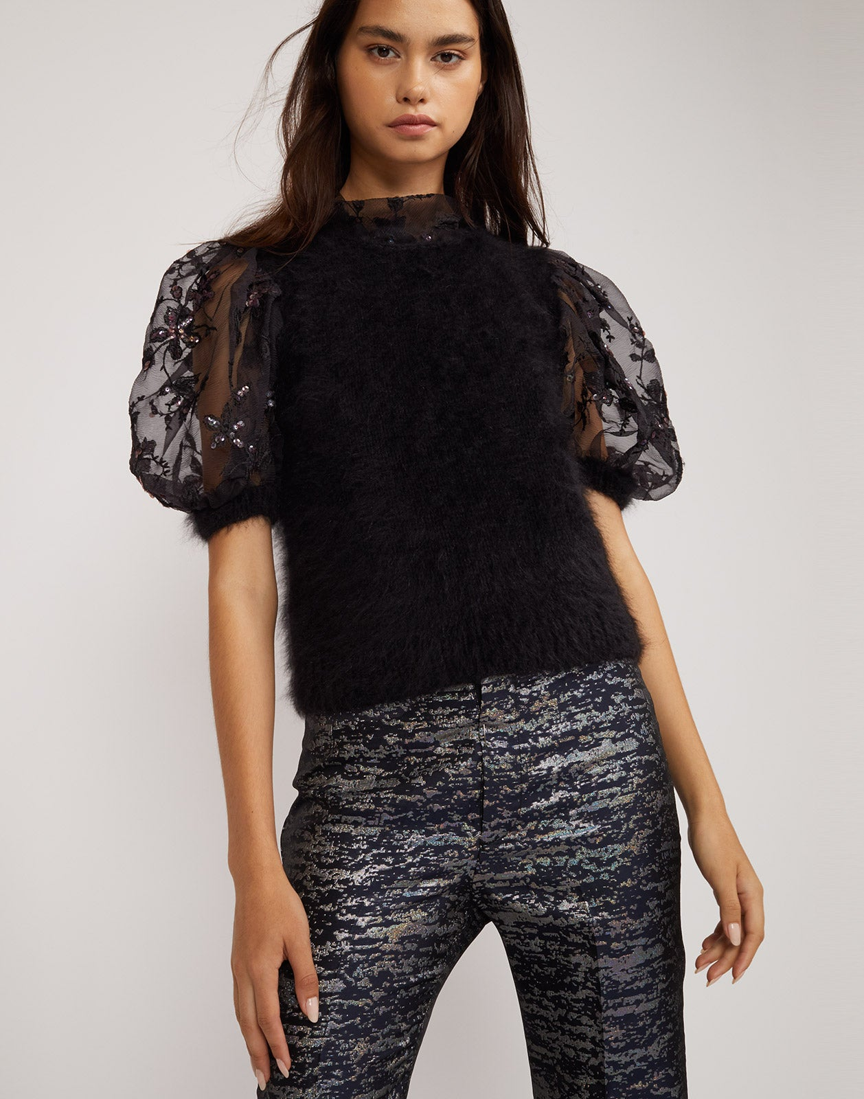 Front view of the Angora puff sleeve top.