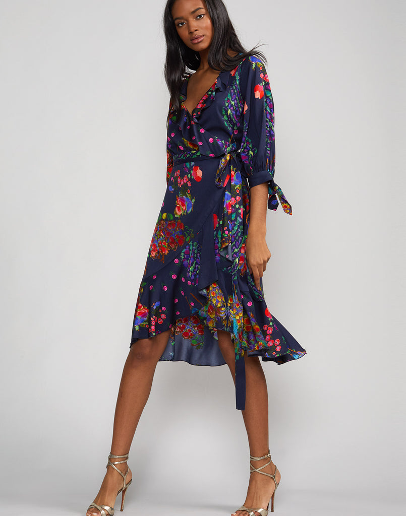 Full view of the Roseland Wrap Tie dress.
