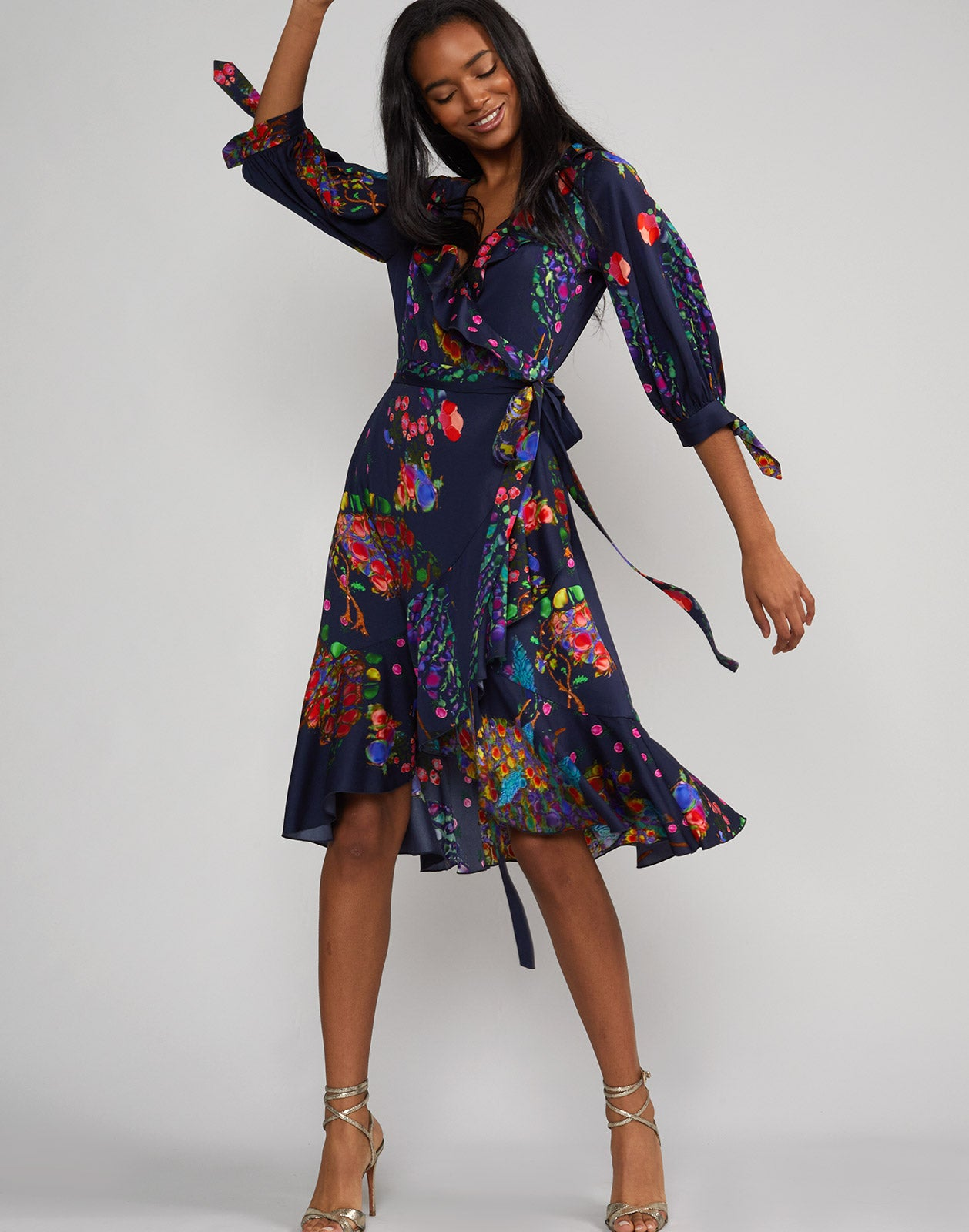 Front view of the Roseland Ruffle Wrap Dress