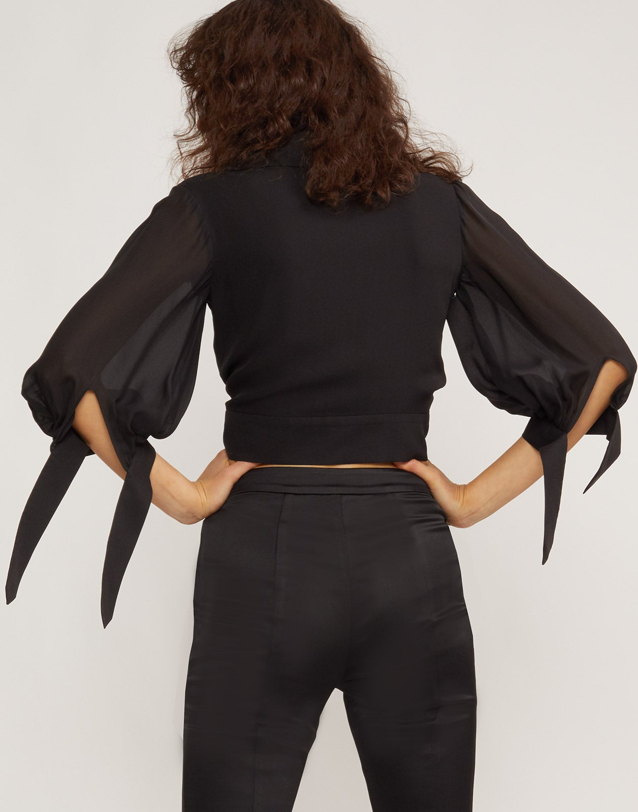 Back view of model wearing Praia Cropped Top with Appliqué Detail
