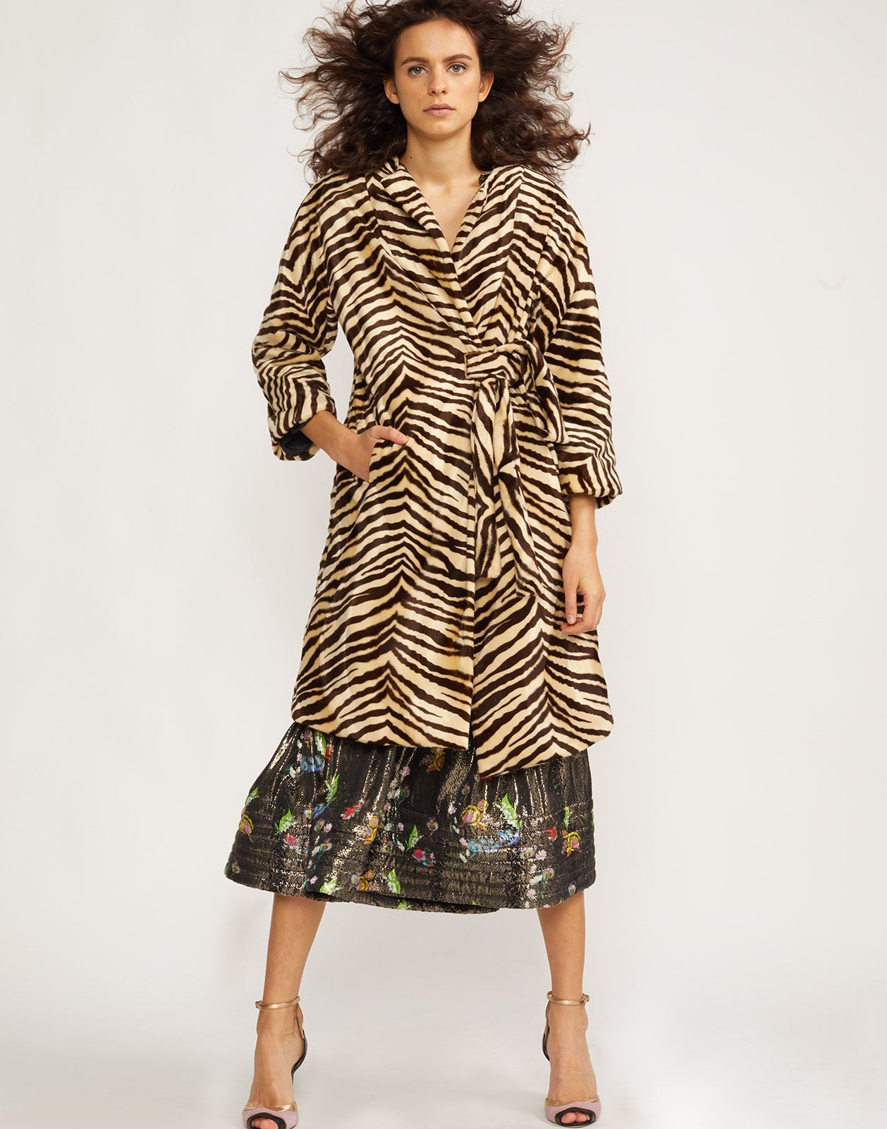 Front view of the Zebra faux fur wrap coat.