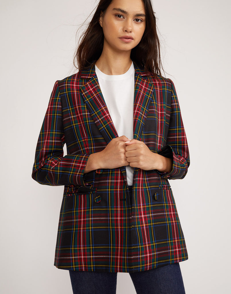Close front view of the Ridley plaid wool blazer.