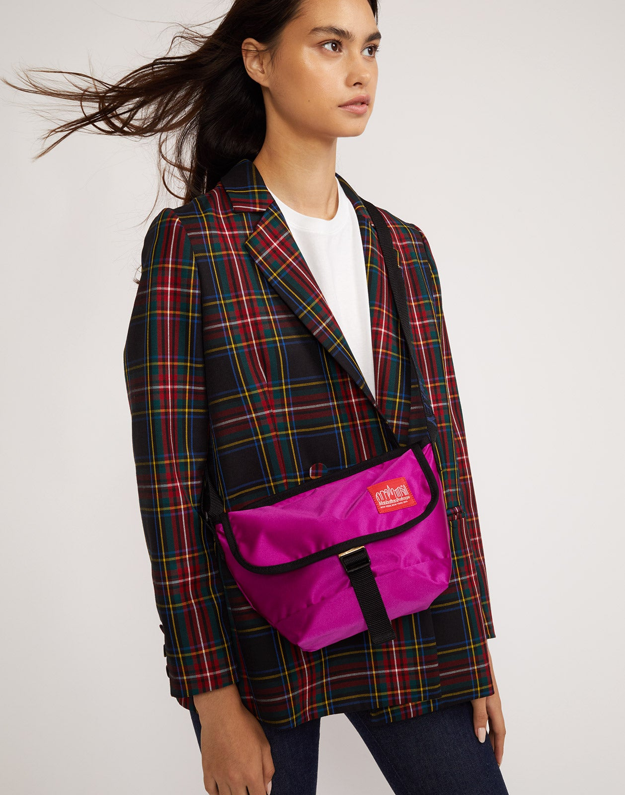 The Ridley plaid wool blazer worn with the Rowley x Manhattan Portage mini messenger bag.