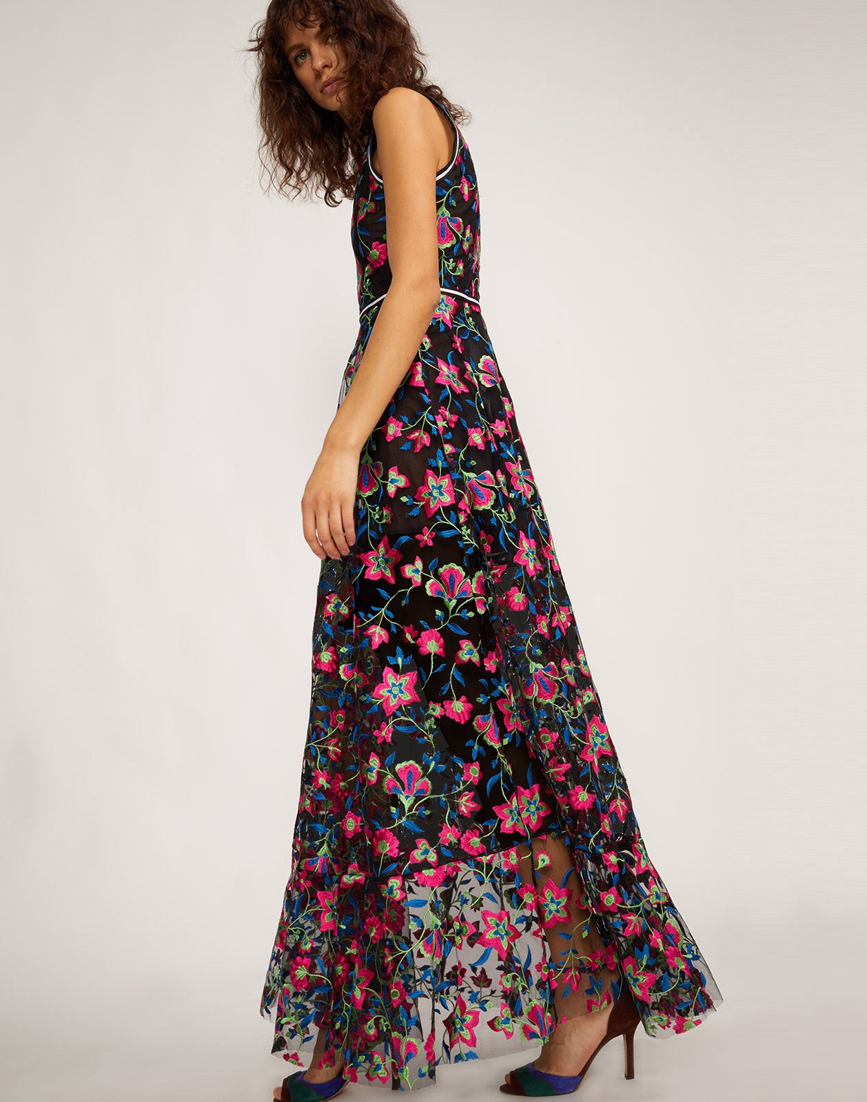 Side view of the Lorelei embroidered mesh maxi dress.