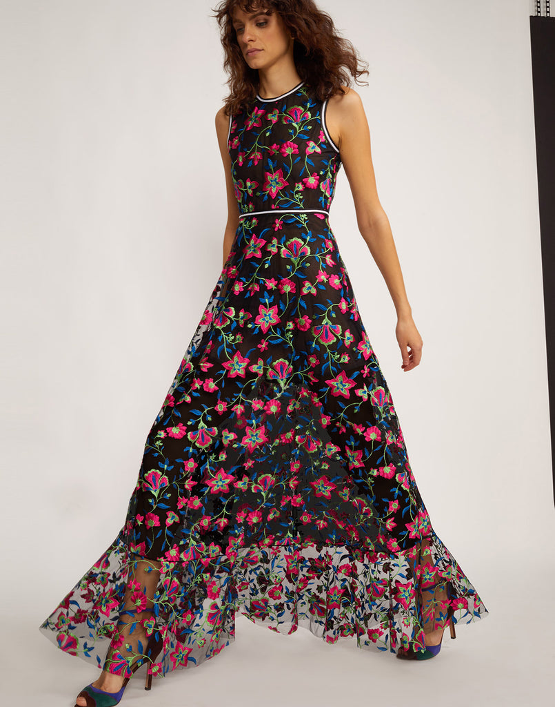 45e7e920709 Three quarter view of the embroidered mesh maxi dress. Lorelei Embroidered  Floral Dress