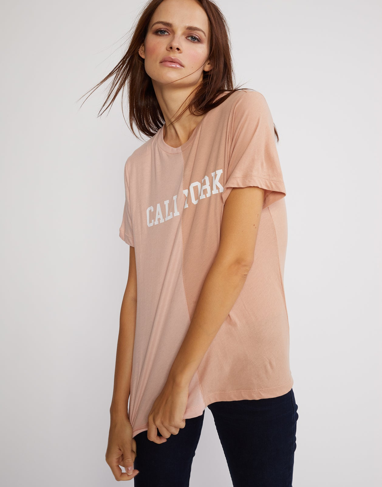 Front view of the short sleeved half beige, half pink caliyork tee in soft cotton.