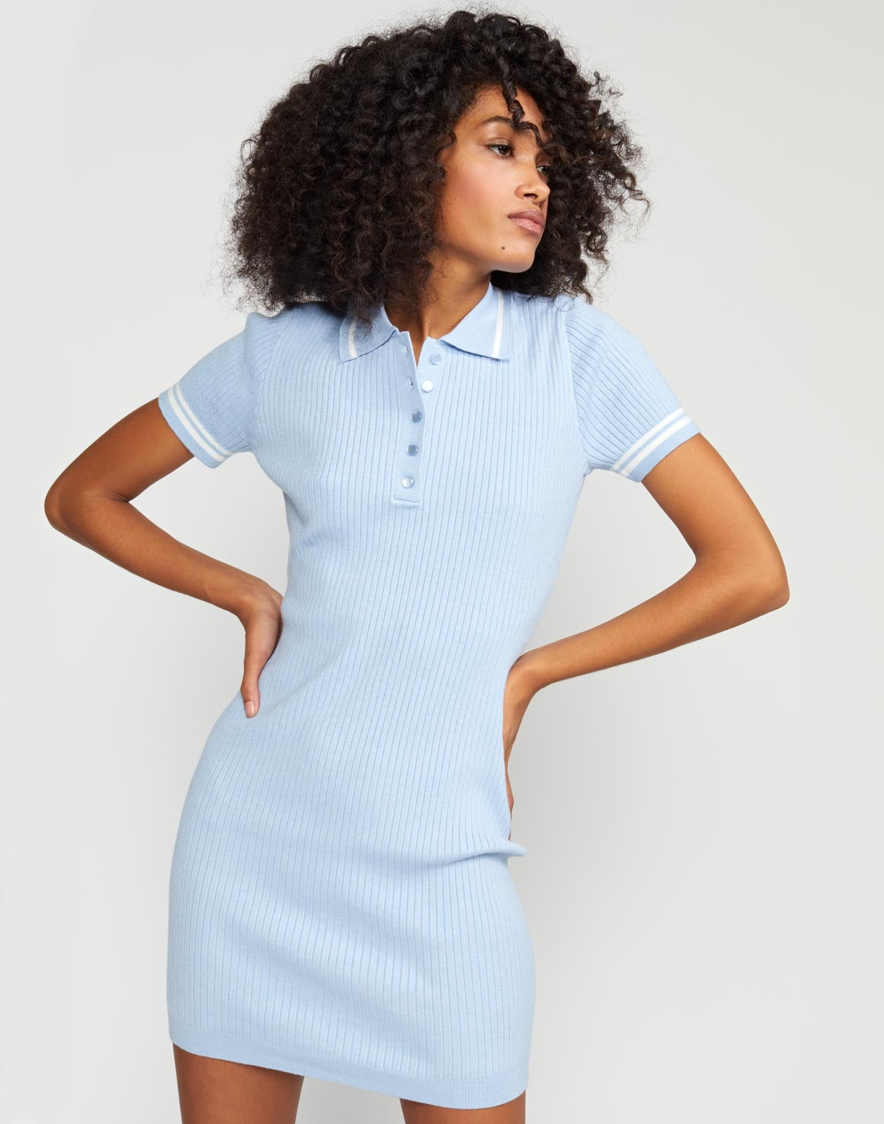 Aqua Rib Knit Mini Dress