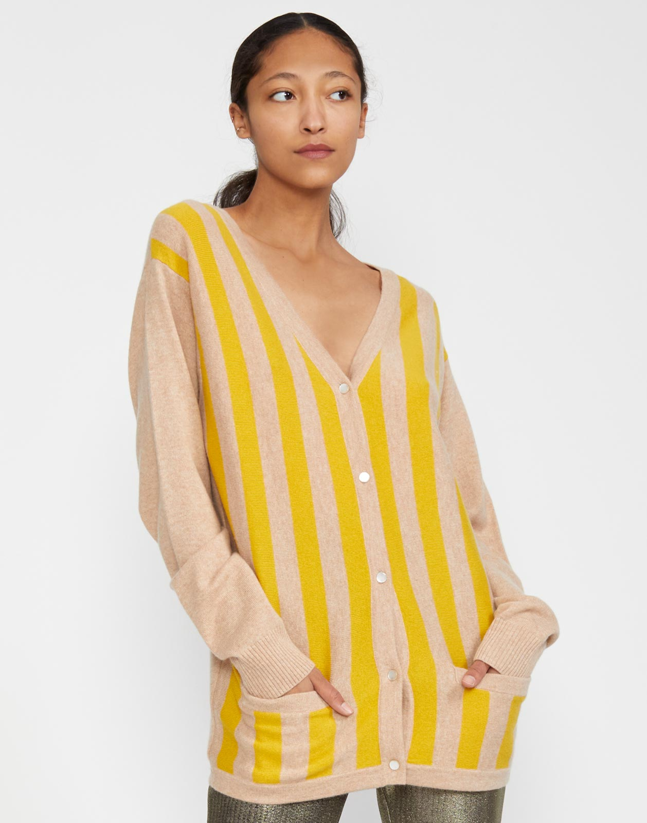 Maya Merino Cashmere Blend Striped Cardigan