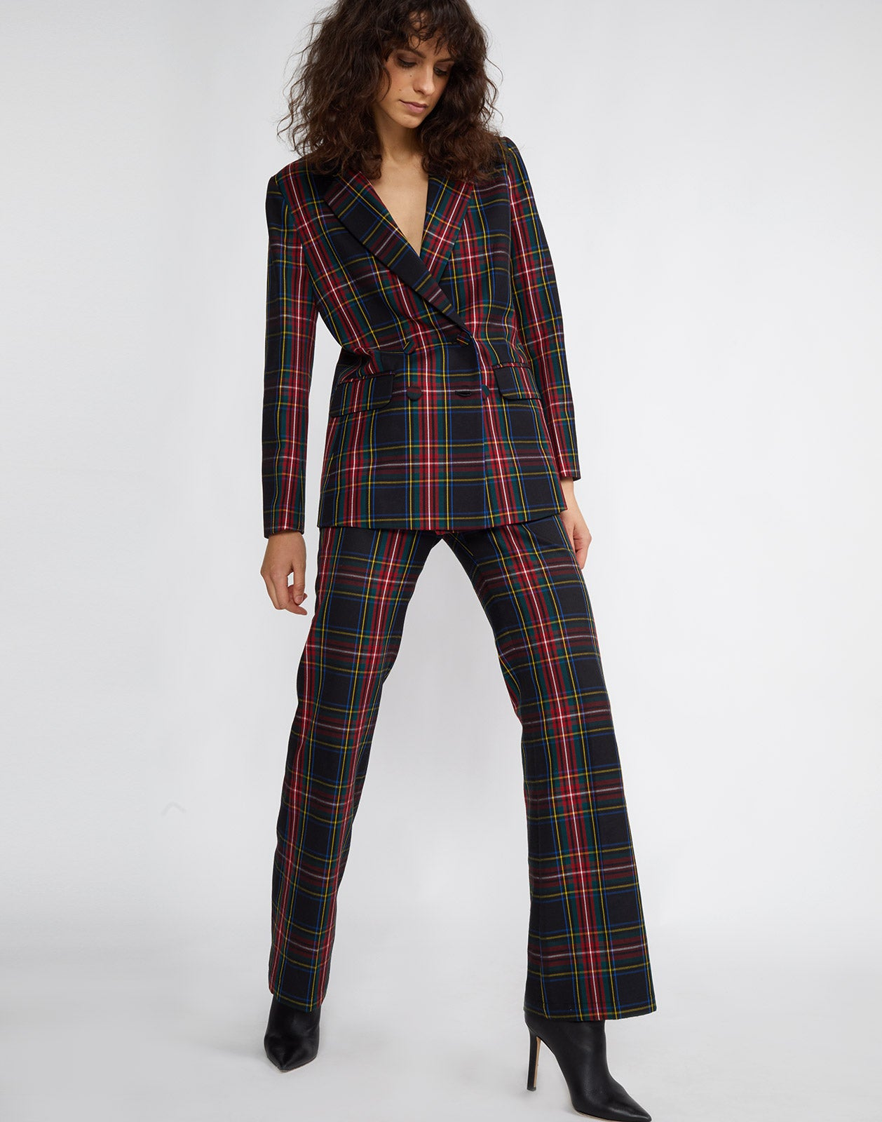 Full front view of the Astor plaid wool pant worn with the Ridley plaid wool blazer.