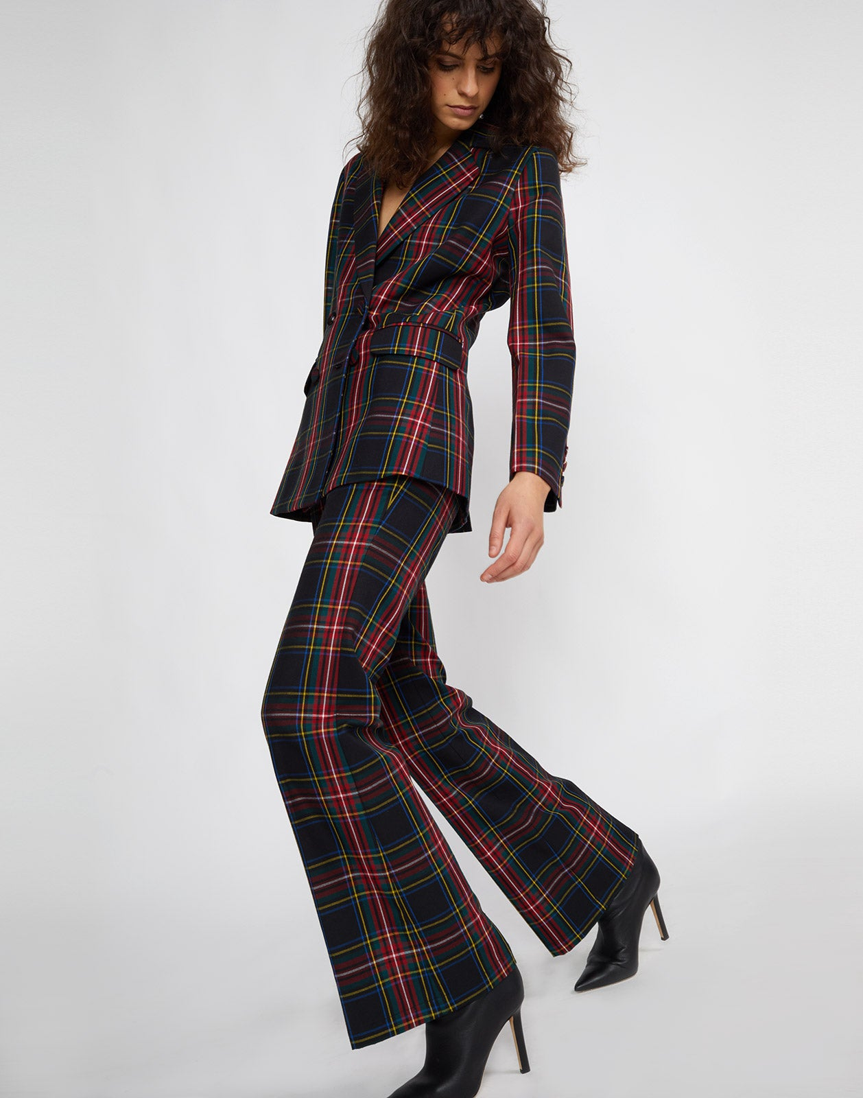 Full side view of the Ridley Plaid Wool Blazer and the Astor Plaid Wool Pant.