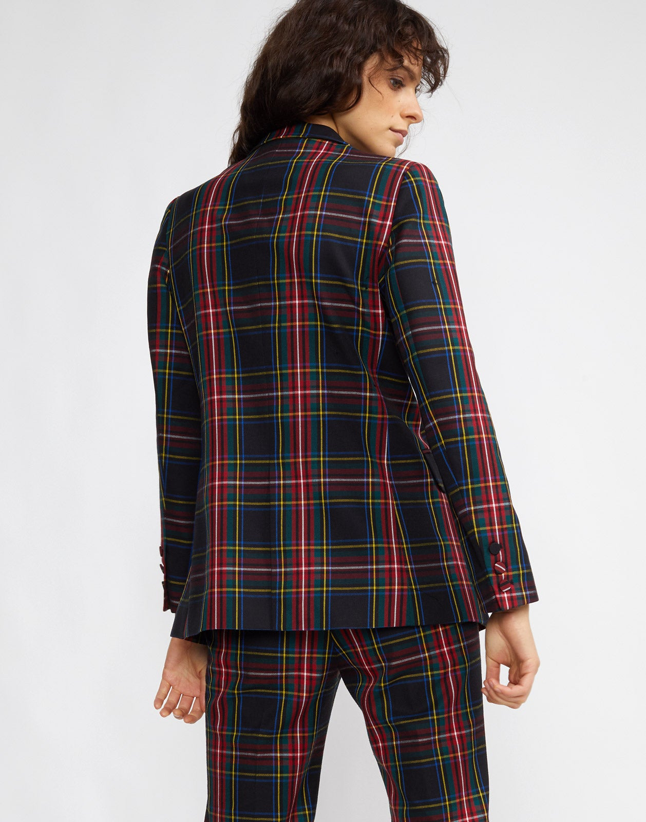 Back view of the Ridley Plaid Wool Blazer.