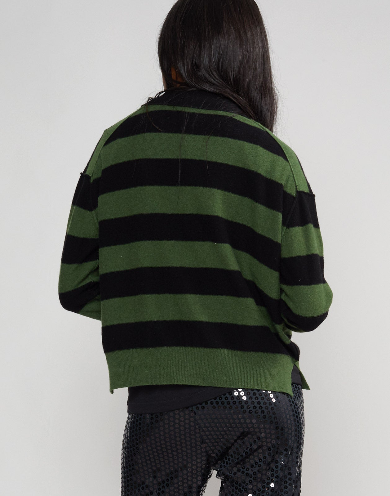 Back view of the striped Monroe sweater.