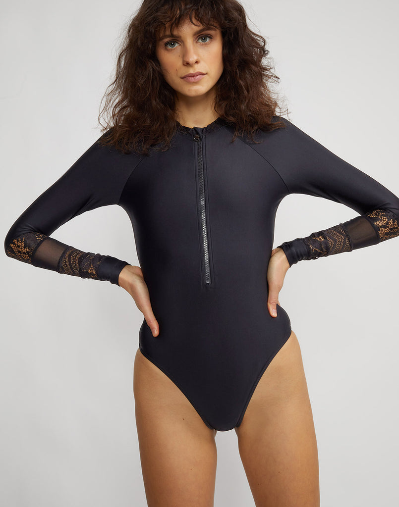 Front view of the one piece Lace Hepburn Surfsuit with mesh