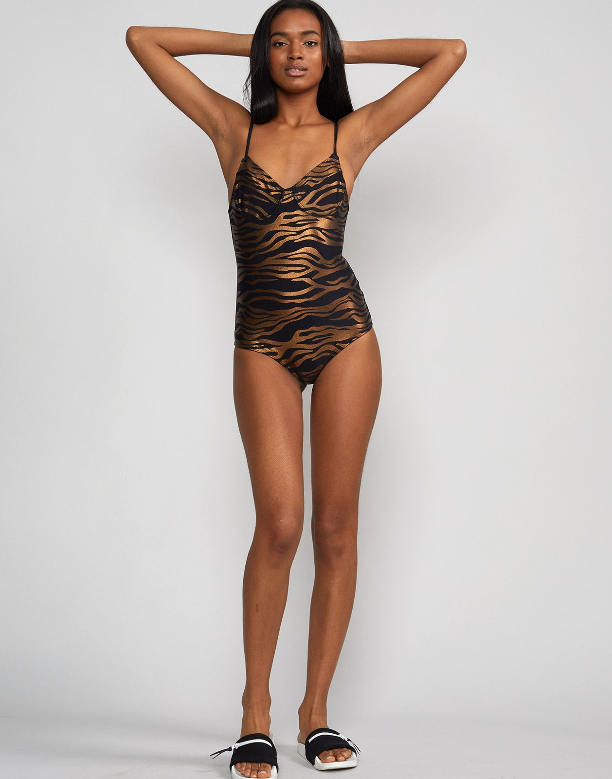 Full front view of zebra sandi one piece swimsuit