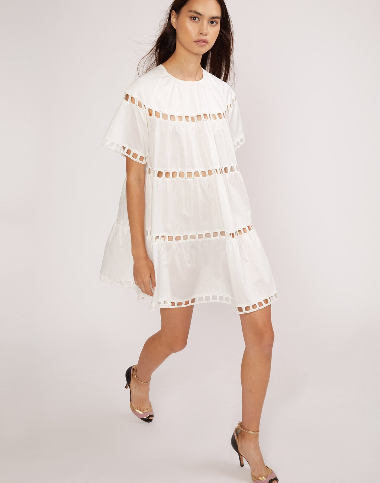 Full front view of the white eyelet Postcard dress.