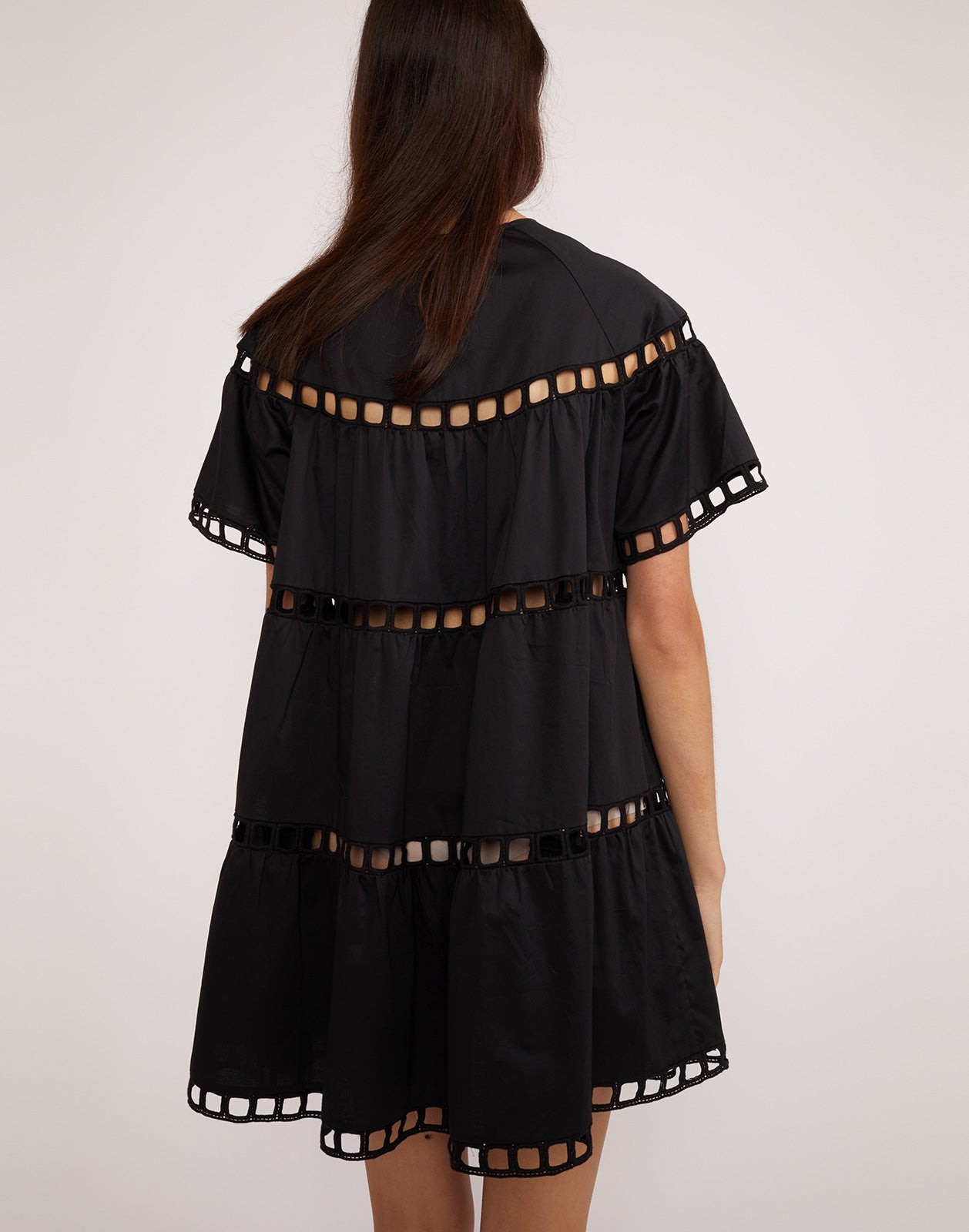 Back view of the cotton eyelet black Postcard swing dress.