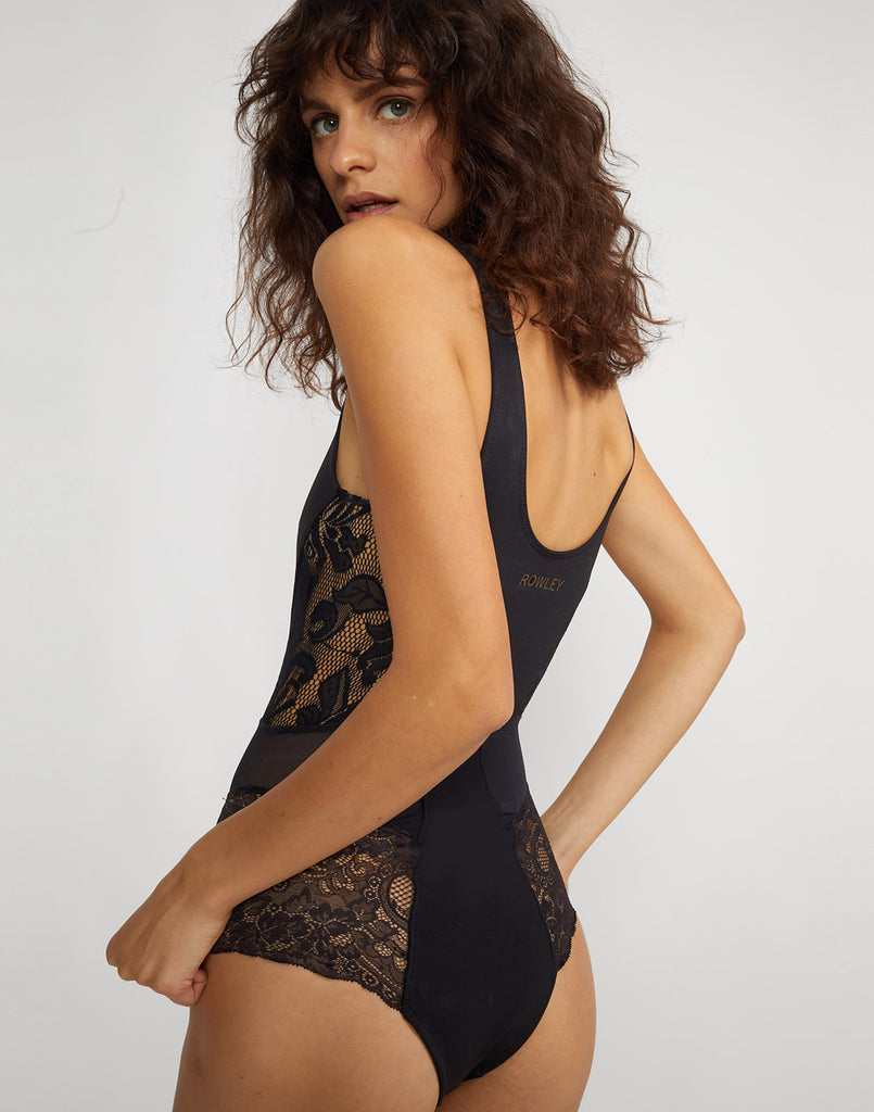 Side back view of one piece Cruz Lace Swimsuit