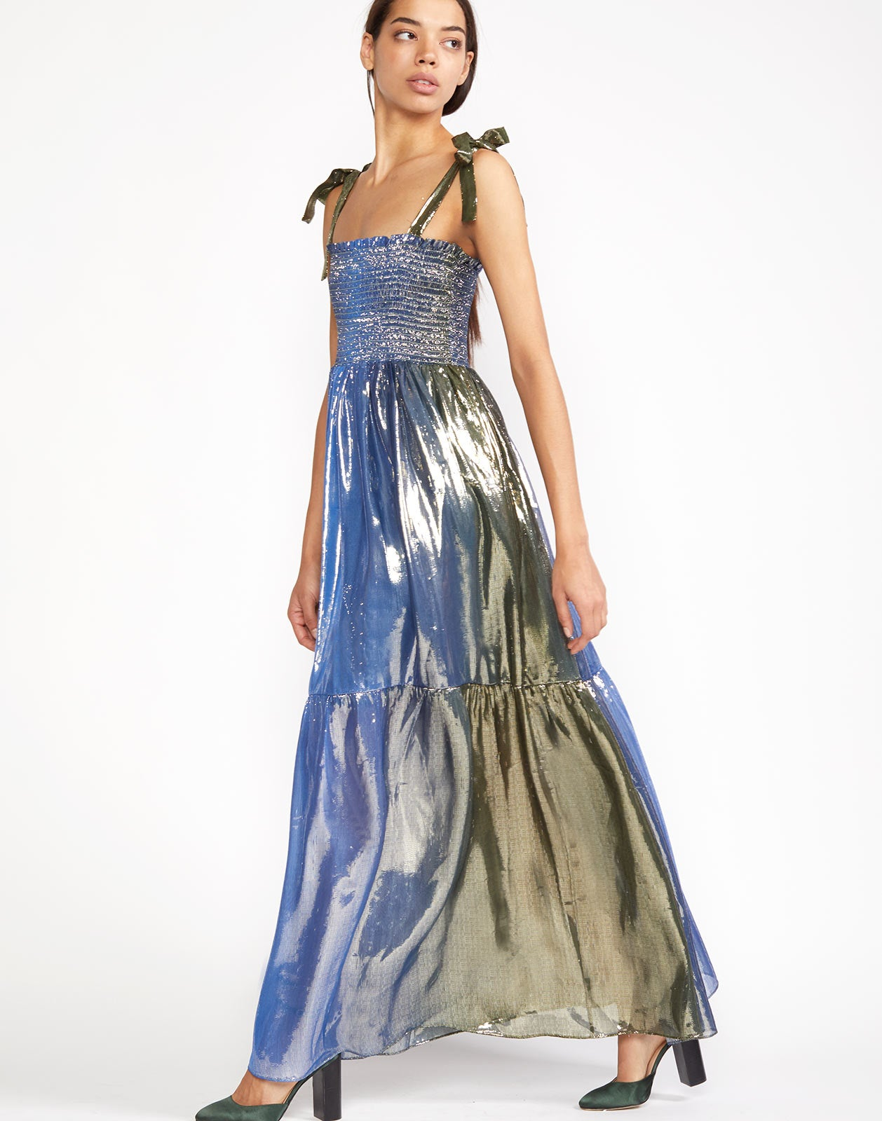 Full view of Jade Dress with metallic shimmer and maxi tiered length skirt.