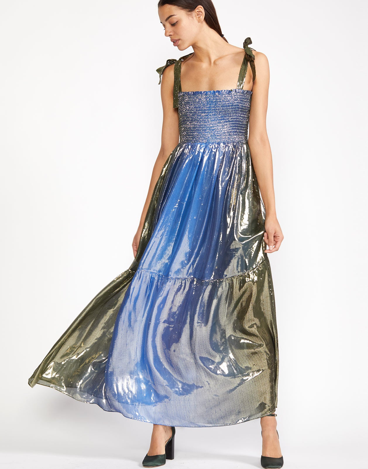 Alternate view of the blue green metallic ombre maxi dress.