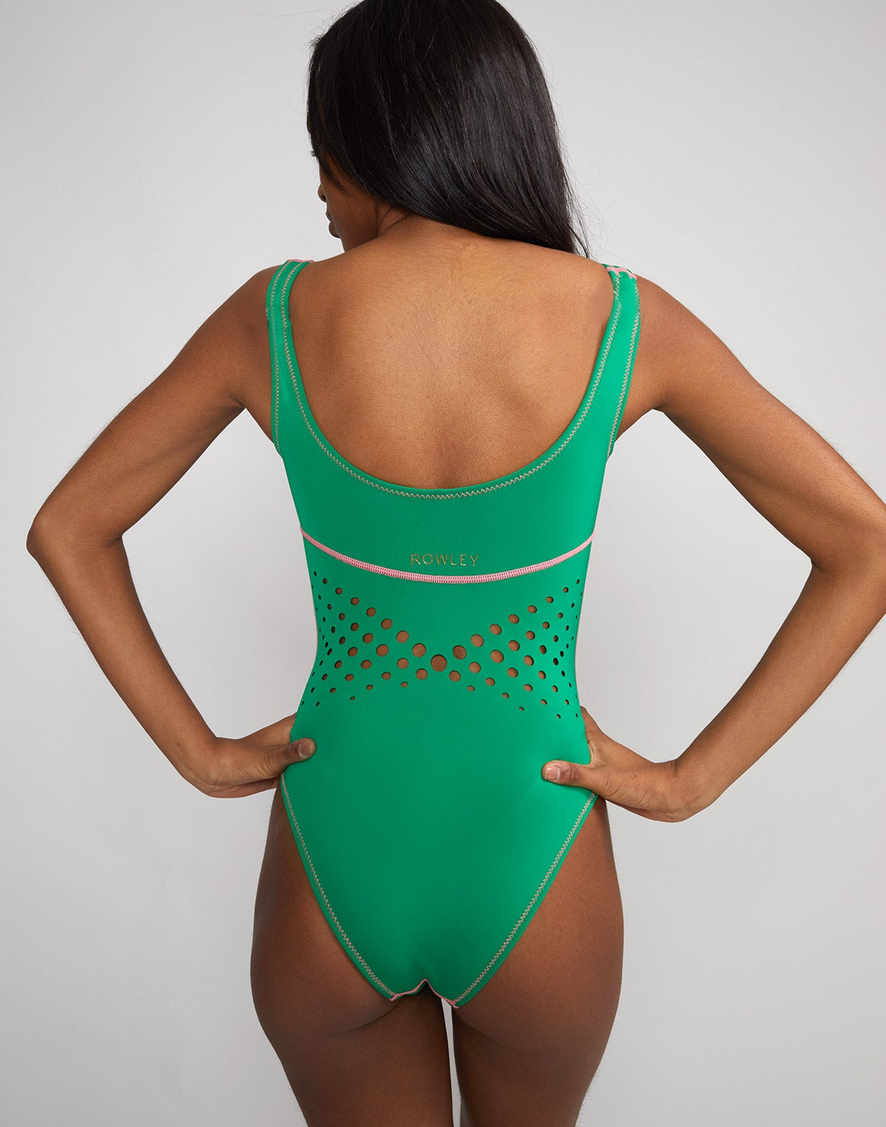 Back view of the Maui Perforated Swimsuit