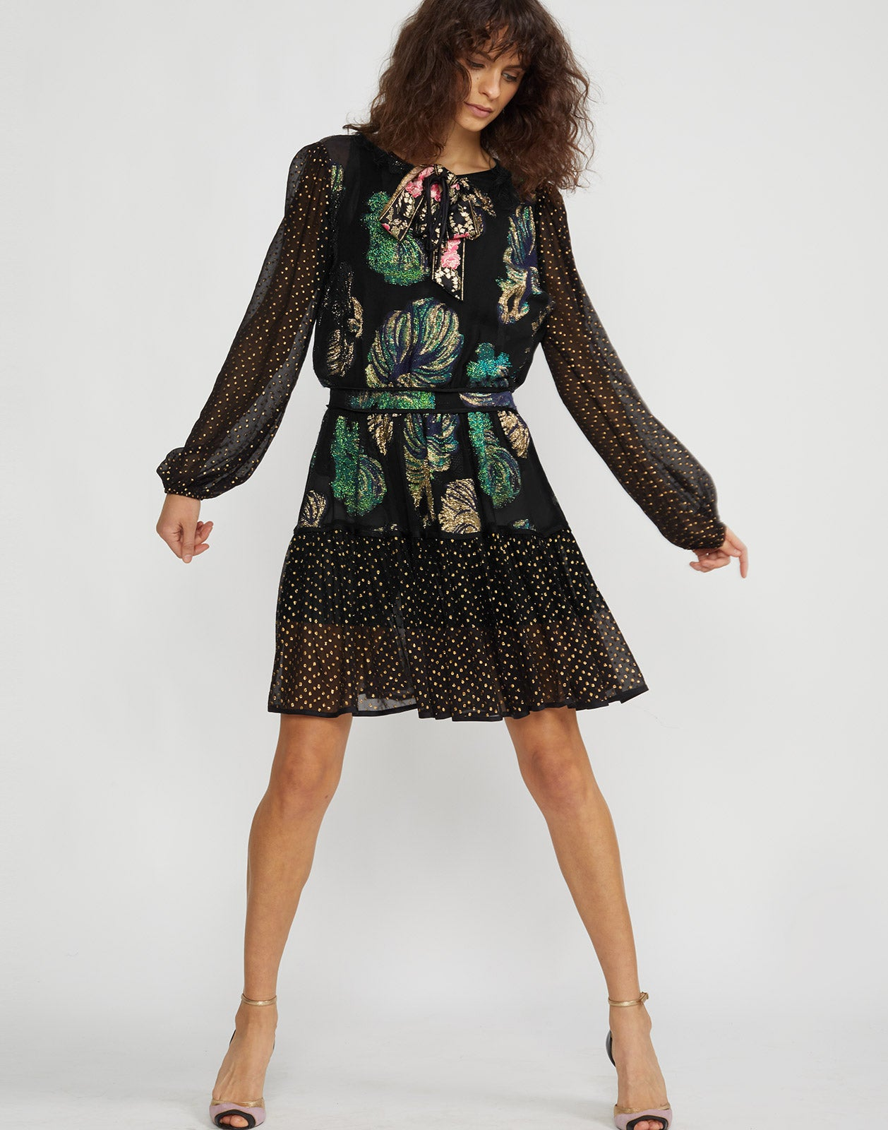Front view of model wearing Inverness Mixed Metallic Fish Dress.