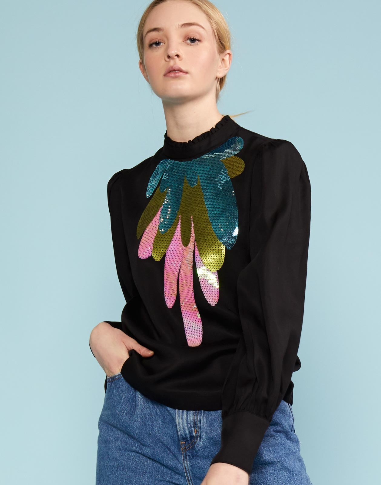Candice Sequin Embroidered Top