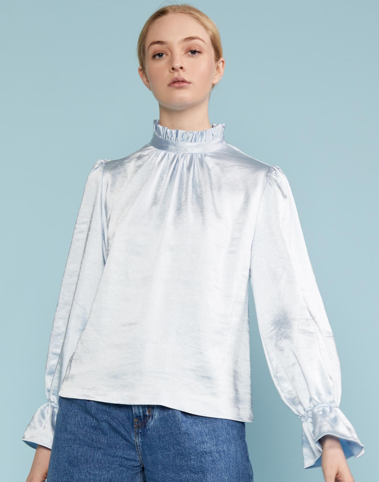 Ezra Ruffle Neck Bell Sleeve Top