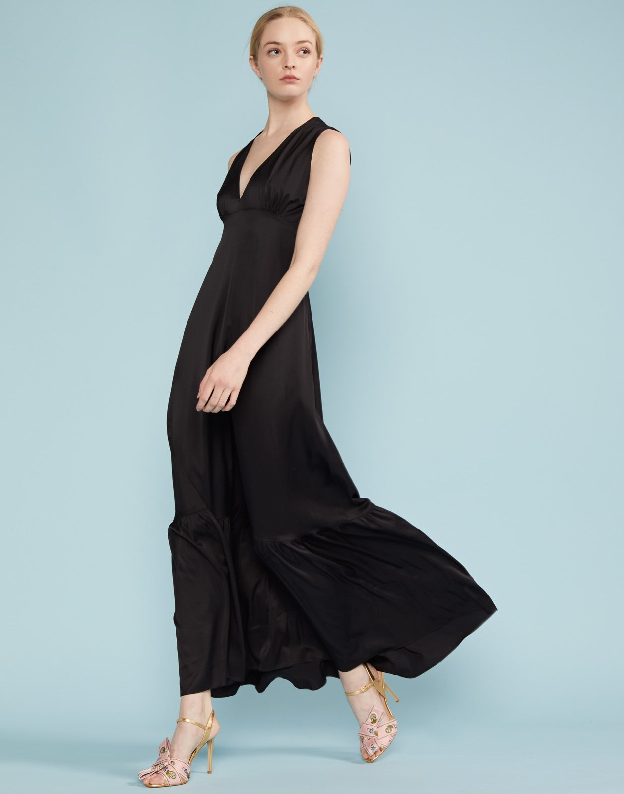 Asher V Neck Flounce Maxi Dress